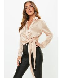 Missguided - Gold Satin Tie Side Blouse - Lyst