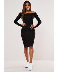 Missguided Bardot Long Sleeve Midi Dress - Black