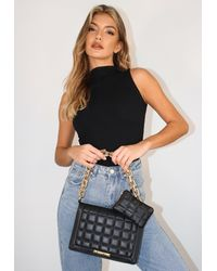 Missguided Faux Leather Quilted Square Handbag And Purse Set - Black