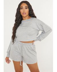 Missguided Plus Size Crop Sweater Jogger Shorts Co Ord Set - Gray