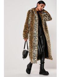 Missguided Brown Leopard Print Long Faux Fur Coat