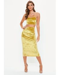 Missguided - Gold Crushed Velvet Cami Top Skirt Co Ord Set - Lyst
