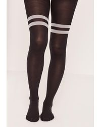 Missguided - Black & White Opaque Striped Tights - Lyst
