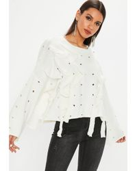 Missguided - White Distressed Lace Up Sweater - Lyst