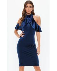 Missguided Navy Velvet Frill Cold Shoulder Bodycon Midi Dress - Blue
