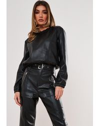 Missguided Black Faux Leather Top