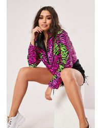 Missguided Pink Zebra Sequin Overhead Cropped Jacket