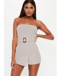 174f7f07f41b Missguided - Stone Bandaeu Belted Skort Playsuit - Lyst