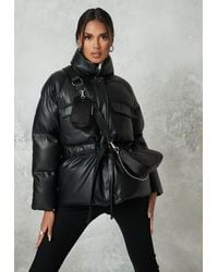 Missguided Faux Leather Gathered Waist Puffer Jacket - Black
