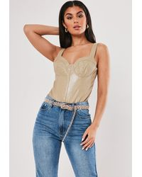 Missguided Faux Leather Croc Effect Cupped Bodysuit - Natural