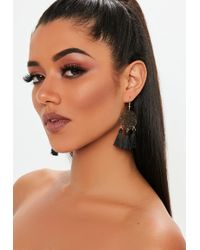 Missguided - Black Fabric Tassel With Gold Look Disc - Lyst