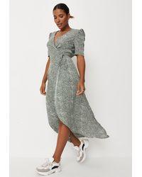 Missguided Printed Midi Wrap Dress - Green