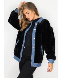 Missguided Faux Fur Oversized Denim Jacket - Black