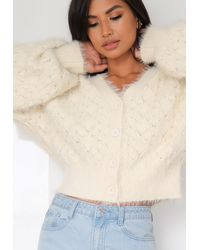 Missguided Feather Pointelle Cardigan - White