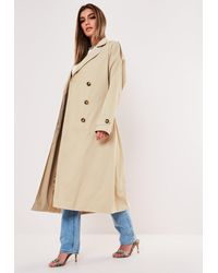 Missguided Oversized Midaxi Trench Coat - Natural