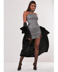 Missguided Hayden Williams X Silver Glitter Choker Mini Dress - Metallic