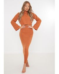 Missguided Co Ord Knitted Midaxi Skirt - Orange