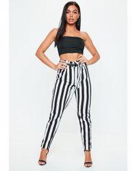 Missguided - Black Stripe Tie Waist Pants - Lyst