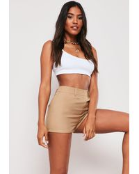 Missguided Camel Co Ord Tailored Shorts - Natural