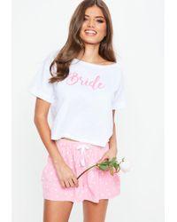 Missguided - White Bride Crop Short Jersey Pj Set - Lyst