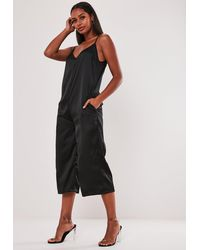 Missguided Tall Black Satin Strappy Oversized Culotte Jumpsuit