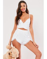 Missguided White Cami Lace Pyjama Set