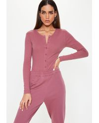 Lyst - Missguided Mauve Lace Up Front Bodysuit in Purple 8060a24f9