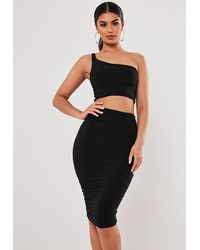 Missguided Stassie X Black Slinky One Shoulder Midaxi Skirt Co Ord Set