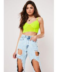Missguided Lime Mesh Bralet - Multicolour