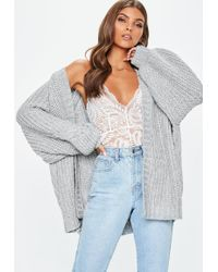 Missguided - Grey Oversized Batwing Cable Knitted Cardigan - Lyst