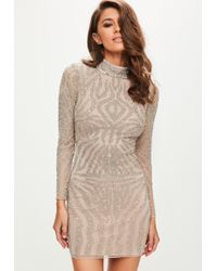 Missguided - Peace + Love Nude High Neck Bodycon Dress - Lyst