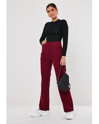Missguided Burgundy Cord Tailored Straight Leg Trousers