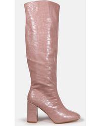 Missguided Croc Block Heel Knee High Boots - Pink