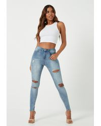Missguided High Waisted Authentic Ripped Skinny Jeans - Blue