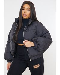 Missguided Plus Size Black Balloon Sleeve Puffer Jacket