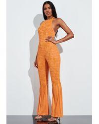 Missguided Orange Halterneck Embellished Romper