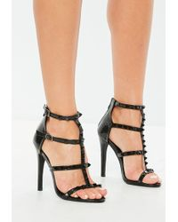 74bf7439ba9c Lyst - Missguided Grey Gladiator Studded Block Heel Sandals in Gray