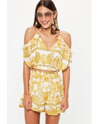 Missguided - Yellow Baroque Printed Cami Top - Lyst