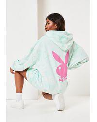 Missguided Vert menthe Robe à capuche menthe tie and dye avec lapin dans le dos Playboy x - Bleu