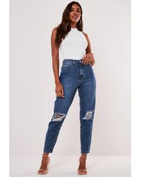 Missguided Highwaisted Bust Knee Mom Jeans - Blue