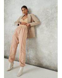 Missguided Camel Exposed Seam Sweatpants - Natural