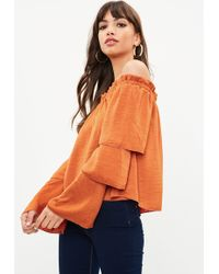 Missguided - Orange Satin Tiered Sleeve Bardot Top - Lyst