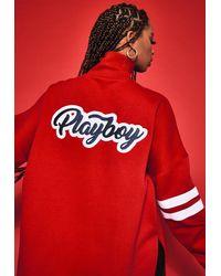 Missguided X Red Varsity 3/4 Zip Sweatshirt