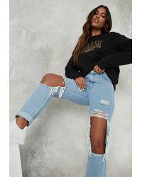 Missguided Dad Jeans im Distressed-Look mit gekrempeltem Saum - Blau