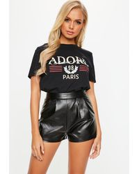 Missguided Petite Black Faux Leather Shorts