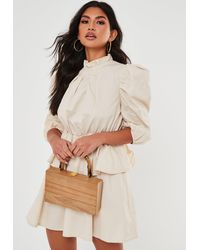 Missguided Tan Wooden Box Bag With Bamboo Handle - Brown