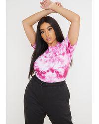 Missguided Size Raspberry Tie Dye Bodysuit - Pink