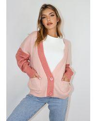 Missguided Pink Colourblock Cardigan