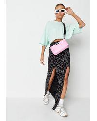 Missguided Tall Black Polka Dot Print Extreme Split Maxi Skirt
