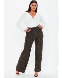 Missguided - Plus Size Black Glitter Wide Leg Pants - Lyst